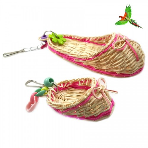 Petacc 2pcs Pet Toy Natural Bird Straw Toy Parrot Hanging Toy with Slipper Shape