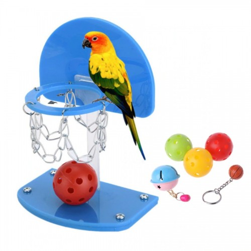 Petacc Bird Intelligence Toy Parrot Basketball Hoop High quality Funny Parrot Toy with Colorful Basketballs