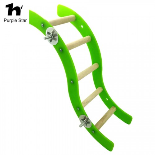Purple Star Parrot Toys Acrylic Wood Swing Ladder Bridge Bird Perches Standing Climbing Stairs Pet Supplies