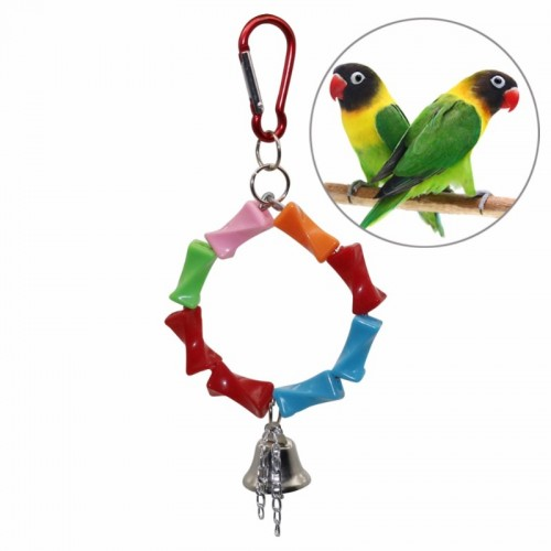 1 Pcs Parrot Bird Swing Metal Ring Bell Hanging Cage Pendant 4 Models Parrot Squirrel Parakeet