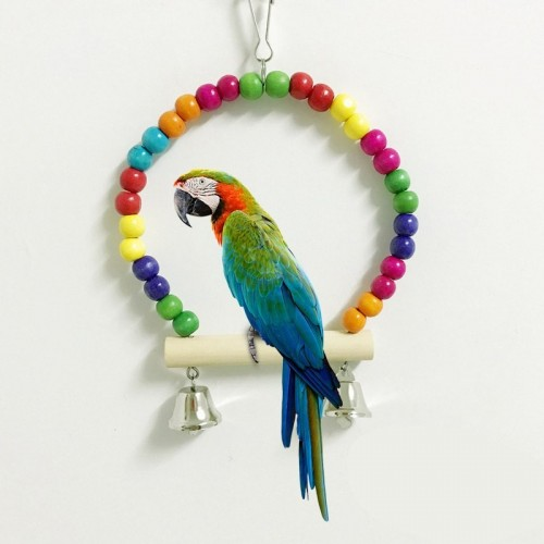 Interesting Pet Bird Training Parrot Swing Wood Colorful Beads Parakeet Budgie Cockatiel Cage Hanging Toys FP8