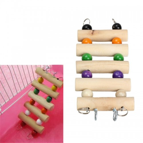 New Pets Wooden Toys Mouse Hamster Parrot birds cage Flexible Hanging Ladder free shipping C RT