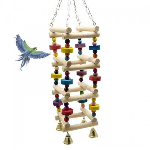 Parrot Climb Swing Combined Birds Ladder Stand Bar Pets Bird Nest Decorative Hanging Ornament with Bell