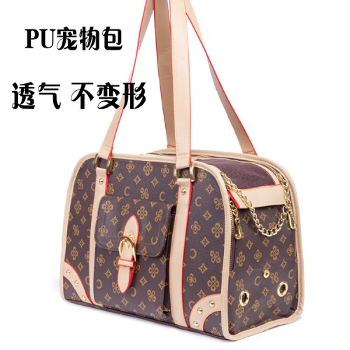 Fashion embossed pet bag with portable bag cat out air bag