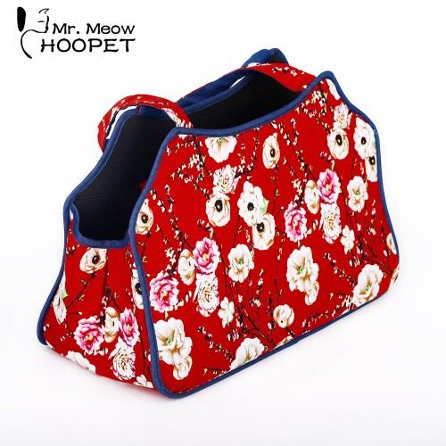 Outdoor Pet Carrier Cat Kitten Festive Chinese Style Bag Soft Sided Fashion Zipper Traveling Shoulder Bag
