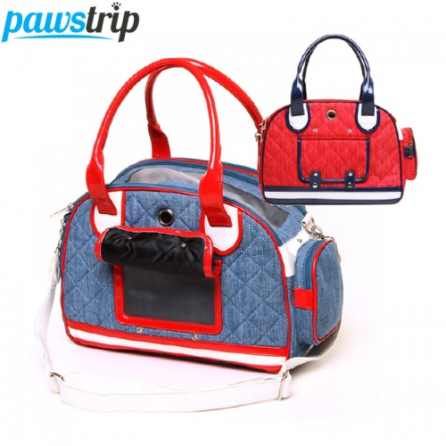 Outdoor Portable Pet Cat Carriers Leather Denim Canvas Luxury Tote Bag
