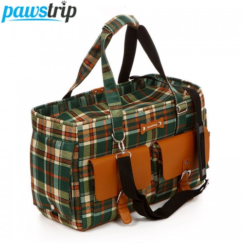 Plaid Print Pet Tote Carry Bag Outside Travel Mesh Breathable Small Cat Carriers Luggage