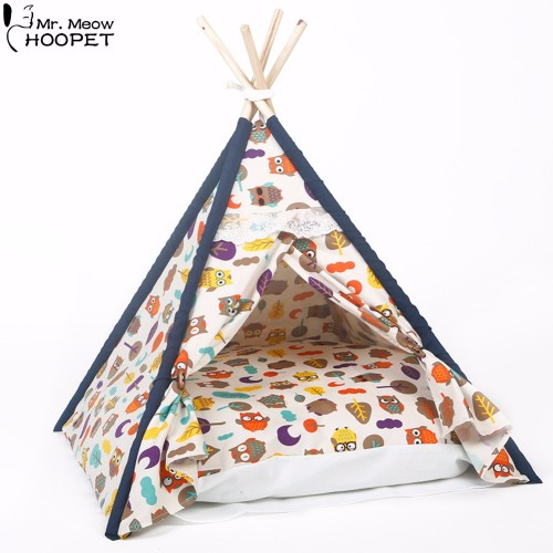 All Seasons Pet Owl Printed Indoor Indian Teepee Kennels Dog Cat Kitten Tent House Bed with