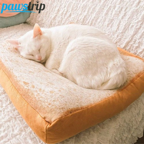 Design Bread Toast Cat Bed Soft Fleece Detachable Wash Small Dog Bed