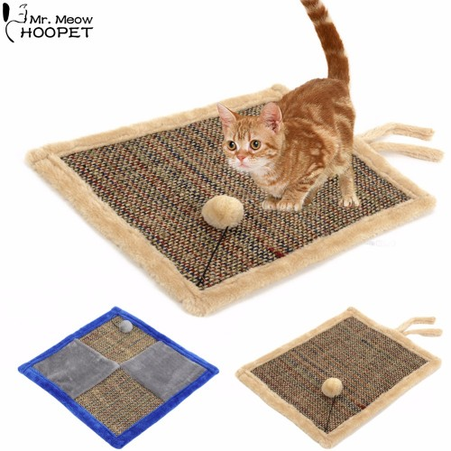Double Sided Cat Scratch Board with Sherpa Ball Toy Kitten Scratcher Mat Pad Post Interactive Toy