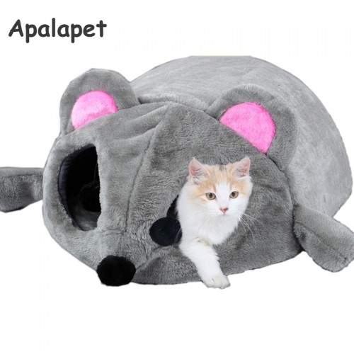 Grey Mouse Shape Bed For Small Cats Cave Bed Removable Cushion Waterproof Bottom