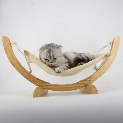 Natural Wooden Handmade Cat Bed Hammock Mat Swing Bed Puppy Blanket Pet Bed