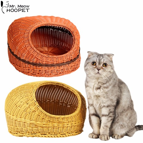 Pet Cooling Wicker Bed PP Resin Sleeping Basket Anti bite House Cozy Cave Great for Dogs