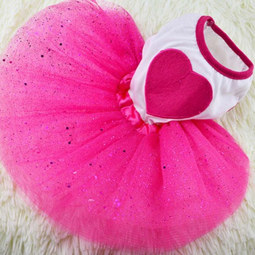 Cat Clothes Red Heart Cat Dress Skirt Wedding Dresses Spring