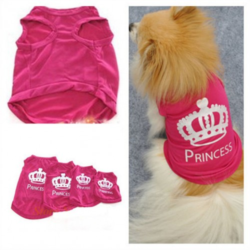 Cat Cute Crown Princess Shirt Clothes Vest Summer Coat Clothing Pet