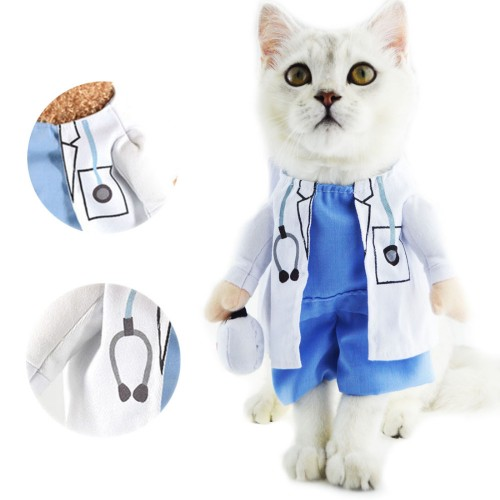 Cat Pet Costume Doctor Uniform Suit Clothes Outfit Doctor Apparel Clothing Cartoon Funny Pet Cat
