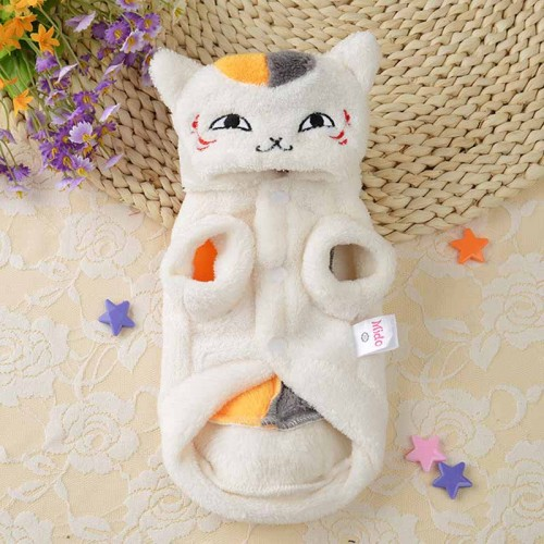 Coral Fleece Pet Cat Clothing Winter Warm Casual Hoodie Coat Pets Clothes