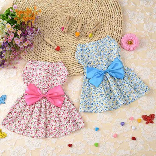 Cute Pink Bows Cat Kittens Princess Dresses Blue Print Rustic Style Dress