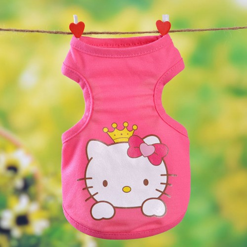 Fashion Cartoon Cat Vest Clothes Sleeveless Pet Kittens Princess Waistcoat