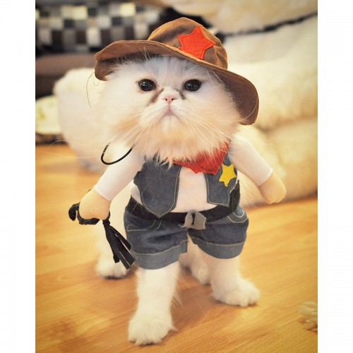 Funny Cat Costume Halloween Pet Cat Clothes Creative Cat Kitten Clothes Cowboy Police Nurse