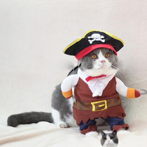 Funny Pet Cat Pirate Costume Suit Cat Clothes Corsair Puppy Dressing up Party Clothes