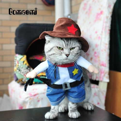 Gomaomi Pet Cat Costume Cowboy Jeans Hoodie Shirts Halloween Costume Jumpsuit Clothes Funny Coat
