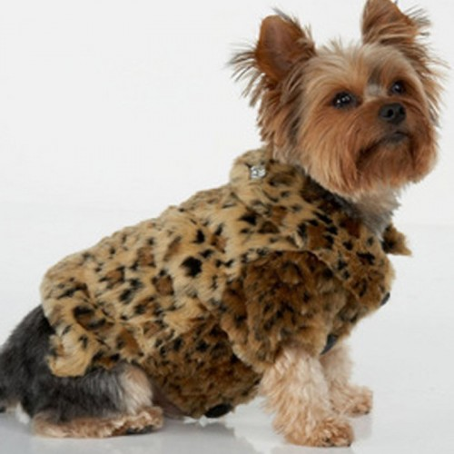 Name Brand Fur Coat Leopard Print Big pet Winter Clothes for Warm Fleece Jacket