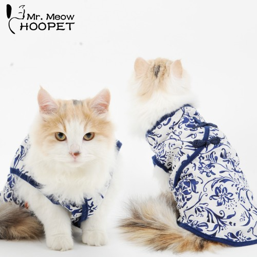 Pet Blue And White Dress Cat Clothes Fall And Winter Warmth And Cat Vest Spring