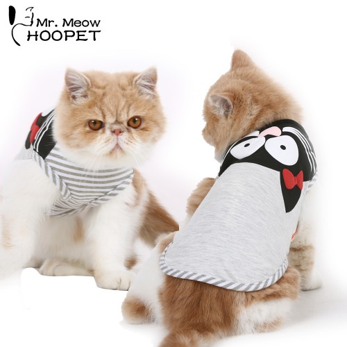 Pet Cat Clothes Gray Kitten Pattern Sleeveless Light Breathable Stripe Cute Cat Vest Fashion Summer Pets