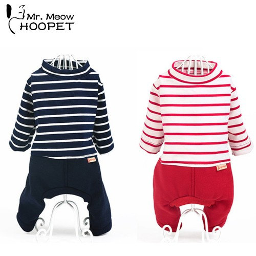 Pet Cat Clothing Casual Fall Small Summer Spring Clothes Stripe Cotton Fashion