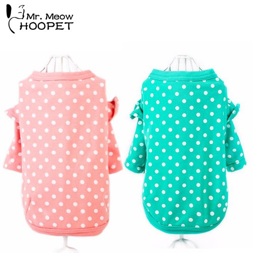 Pet Cat Dot Shirt Princess Dress Fashion Leisure Comfortable Green Pink Vests Cute Summer