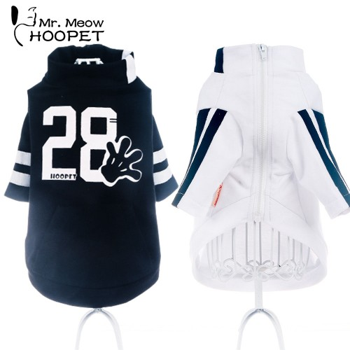Pet Clothes Motion Style Sweater Leisure Breathable Handsome Fashion White Black Autumn Clothes