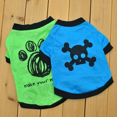 Pet Clothes Pets Small Cat Skull Footprint Printed T Shirt Tops Blouse