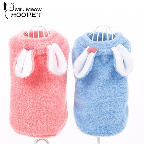 Pet Clothes Turned Installed Small Rabbit Cat Fall And Winter Clothes Soft Very Cute Pink Blue