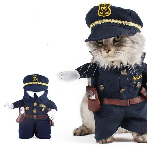 Pet Costume Policeman Style Jeans Clothes Cat Funny Apperal