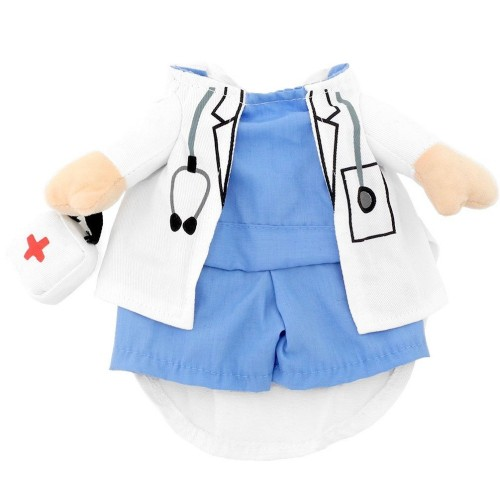 Pet Halloween Doctor Costume Jeans Clothes Cat Funny Apperal