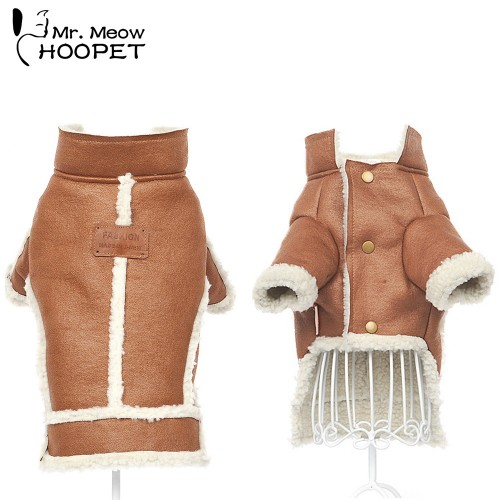 Pet Handsome Suede Jacket Lambswool Cat Warm Decorative Pocket Vest Composite Material Rabbit Brown Gray Puppy