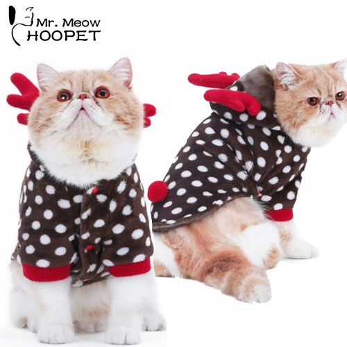 Pet cat Funny Clothes Christmas clothes Hallowmas suit Dot deer Party Dress Flannel Thick Warm