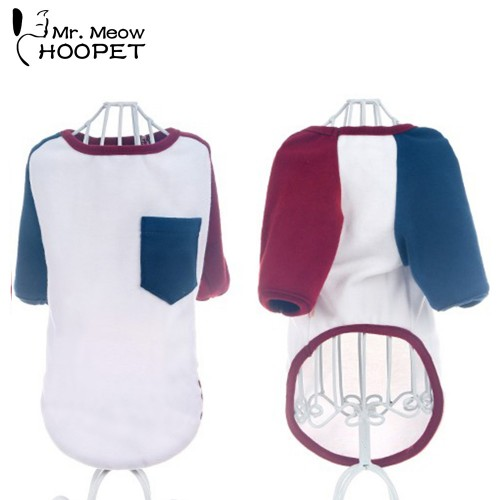 Pets Stitching Shirt Small Pocket Stitching Hit Color Fashion Spring Summer White Breathable Comfort