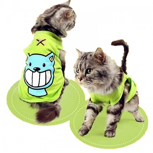 Summer Pet Cat Clothes  Cotton Cat Vest Cat Clothes Soft Spring T shirt Cartoon