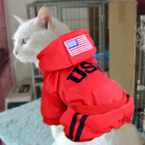 Warm Pet Cat Clothes Puppy Costumes for Coats Outfit Jacket Hoodies Winter Pet Apparel