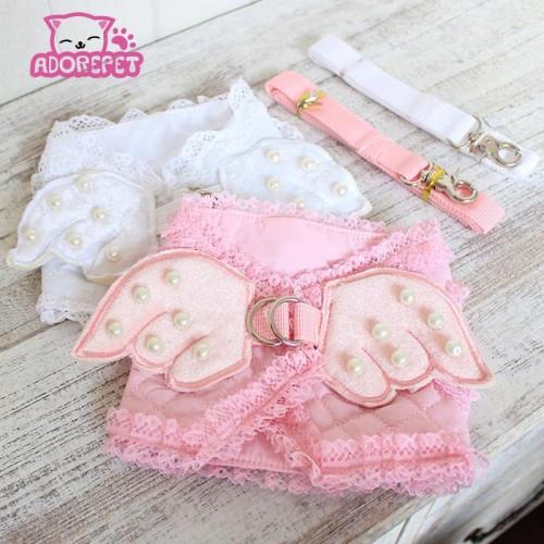 Cute pink angel small cat Harness vest lead Leash pet cat luxury pearl
