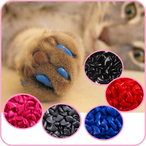 100 pcs Cats Kitten Paws Grooming Nail Claw Cap Adhesive Glue Applicator Soft Rubber