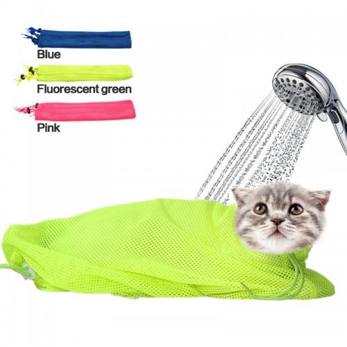 Mesh Cat Grooming Bathing Bag No Scratching Biting Restraint for Bathing Nail Trimming Injecting Examing