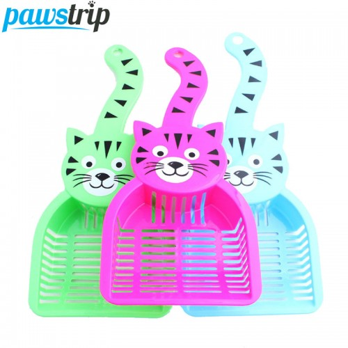 Pet Cat Poop Scoop Cute Cartoon Plastic Sieve Small Litter Animals Wastes Cleaning