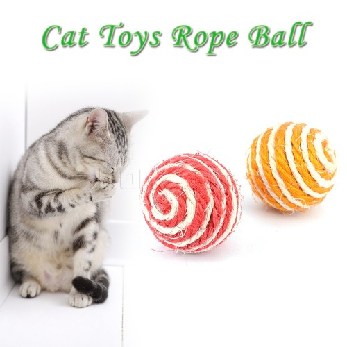 Ball Rope Weave Chew Toys Sport Sisal Braided Cat Play Chewing Catch Toy Trapped