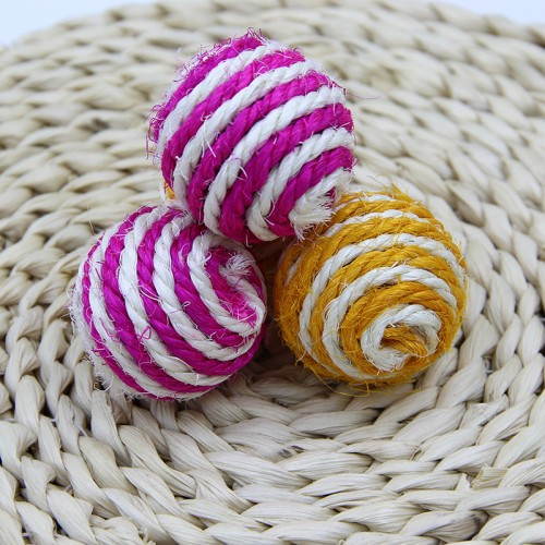 Cat Toy Natural Sisal Aroma Catch Ball Interactive Toys with Cat Knot Toys Chew