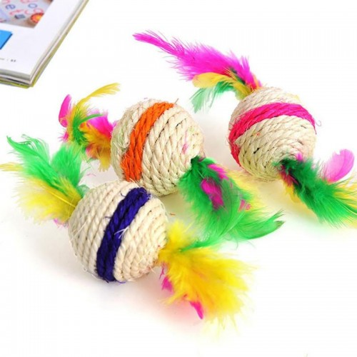 Colorful Ball Cat Toy Interactive Cat Toys Play Chewing Rattle Scratch Catch Pet Kitten Cat Exrecise