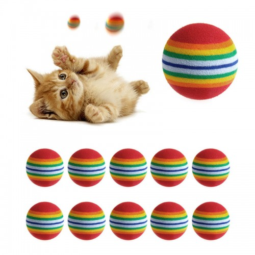 Colorful Cat Toy Ball Interactive Play Chewing Rattle Scratch Natural Foam Ball Training