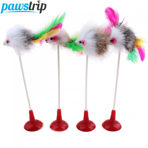 Colorful Feather Cat Toy False Mouse Bottom Sucker Funny Cat Teaser Toys